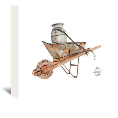 Americanflat 'Wheel Barrow' by Gina Maher Art Print Wrapped on Canvas