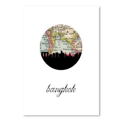 Americanflat 'Bangkok Map Skyline' by Paper Finch Graphic Art