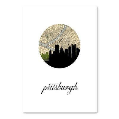 Americanflat 'Pittsburgh Map Skyline' by PaperFinch Graphic Art