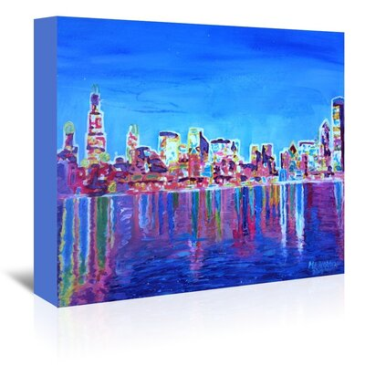 Americanflat Chicago Skyline Neon Shimmering' by Markus Bleichner Art Print Wrapped on Canvas