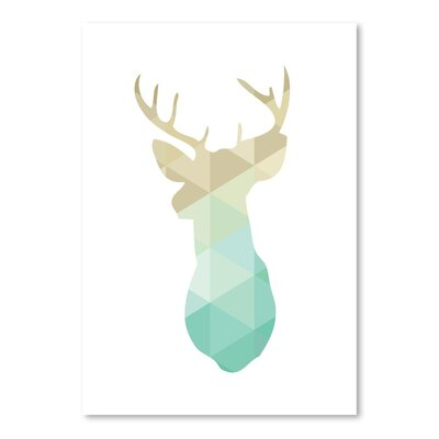 Americanflat 'Gold Mint Deer Up To' by Melinda Wood Graphic Art