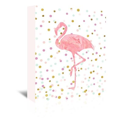 Americanflat 'Pink Flamingo on Confetti' Graphic Art Wrapped on Canvas