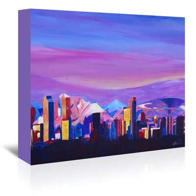 Americanflat 'Denver Colorado Sunset Mood With Mountains' by M Bleichner Art Print