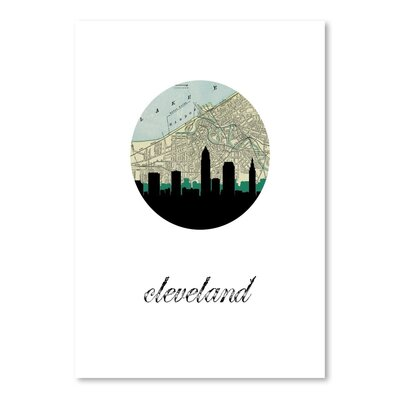 Americanflat 'Cleveland Map Skyline' by Paper Finch Graphic Art