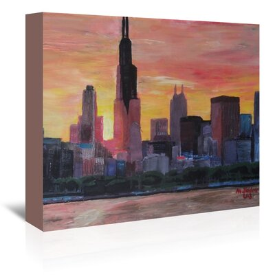 Americanflat Chicago Sunset Red' by Markus Bleichner Art Print Wrapped on Canvas
