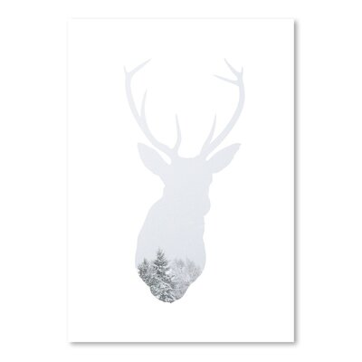 Americanflat 'Winter Deer Up To' by Melinda Wood Graphic Art Wrapped on Canvas
