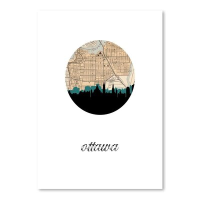 Americanflat 'Ottawa Map Skyline' by PaperFinch Graphic Art
