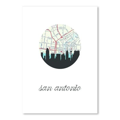 Americanflat 'San Antonio Map Skyline AF' by PaperFinch Graphic Art