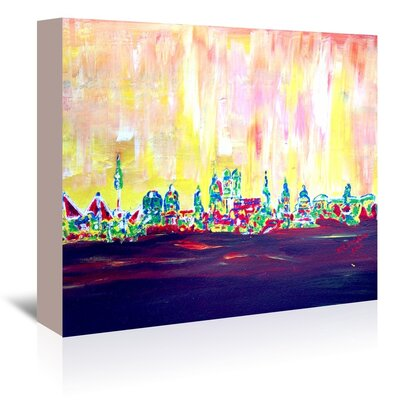 Americanflat 'Muc Skyline In Neon Hell 2' by M Bleichner Art Print Wrapped on Canvas