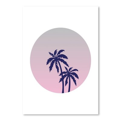 Americanflat 'Palm Tree Circle' by Ashlee Rae Graphic Art Wrapped on Canvas