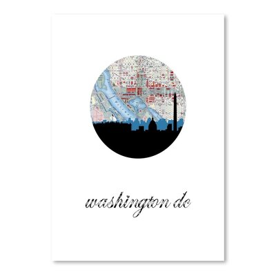 Americanflat 'Washington DC Map Skyline' by PaperFinch Graphic Art