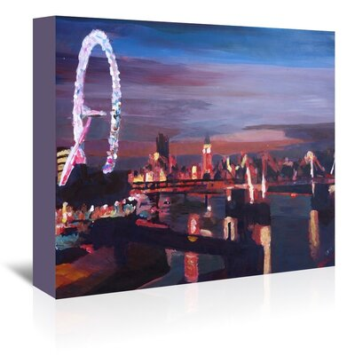 Americanflat London Eye Night' by Markus Bleichner Art Print Wrapped on Canvas