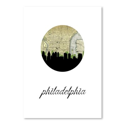 Americanflat 'Philadelphia Map Skyline' by PaperFinch Graphic Art