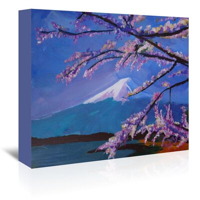 Americanflat 'Mount Fuji With Lake And Almond Blossom Time' by M Bleichner Art Print Wrapped on Canvas