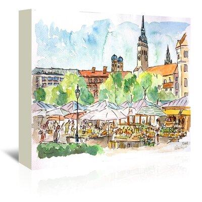 Americanflat Munich Viktualienmarkt Aquarell' by Markus Bleichner Art Print Wrapped on Canvas