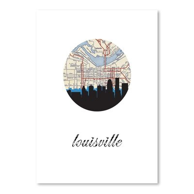 Americanflat 'Louisville Map Skyline' by PaperFinch Graphic Art