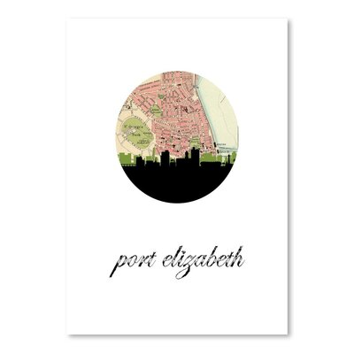 Americanflat 'Port Elizabeth Map Skyline' by PaperFinch Graphic Art