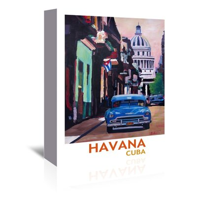Americanflat 'Cuban Oldtimer Street Scene In Havanna Cuba With Buena Vista Feeling Poster 2' by M Bleichner Graphic Art Wrapped on Canvas