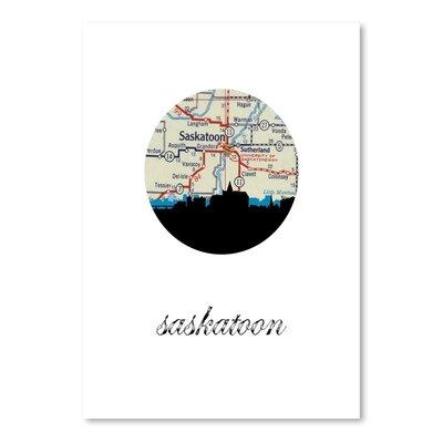 Americanflat 'Saskatoon Map Skyline' by Paper Finch Graphic Art