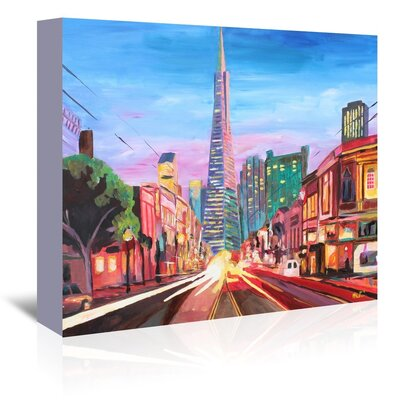 Americanflat 'San Francisco Columbus St. With Cafe Vesuvio And Transamerica At Dawn 1' by M Bleichner Art Print Wrapped on Canvas