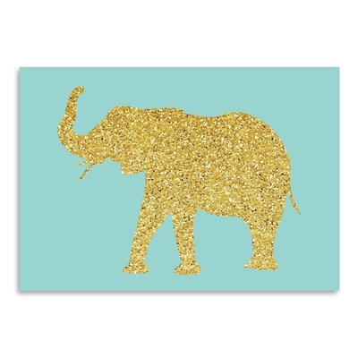 Americanflat 'Gold Glitter Elephant' by Peach & Gold Graphic Art