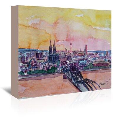 Americanflat Cologne Deutz Bridge Sunset 2' by Markus Bleichner Art Print Wrapped on Canvas