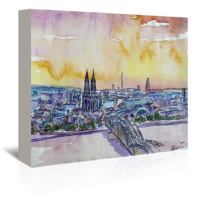 Americanflat 'Cologne Deutz Bridge Sunset' by M Bleichner Art Print Wrapped on Canvas
