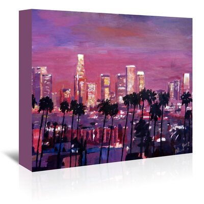 Americanflat 'Los Angelese Golden Skyline 2' by M Bleichner Art Print Wrapped on Canvas