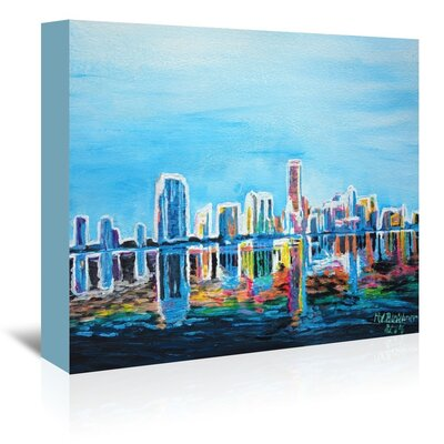 Americanflat 'Miami Skyline Silhouette' by M Bleichner Art Print Wrapped on Canvas