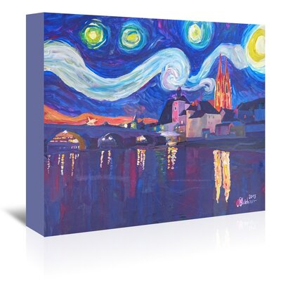Americanflat 'Starry Night In Regensburg' by M Bleichner Art Print Wrapped on Canvas