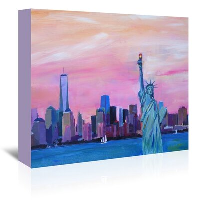 Americanflat 'Manhattan Skyline With Downtown Skyline And Statue Of Liberty' by M Bleichner Art Print Wrapped on Canvas