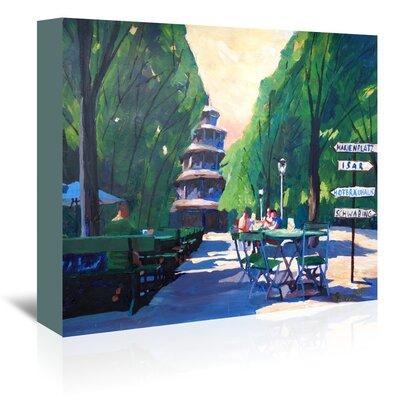 Americanflat 'Munchen Chinesischer Turm Mit Wegweiser' by M Bleichner Art Print Wrapped on Canvas