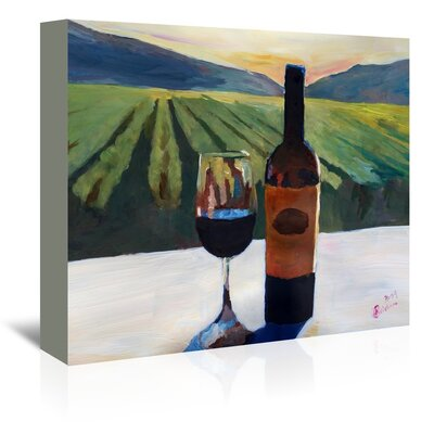 Americanflat Napa Valley Wine Bottle And Glass' by Markus Bleichner Art Print Wrapped on Canvas