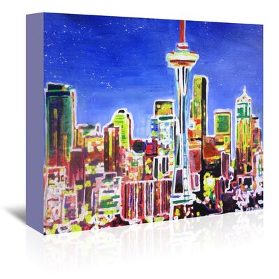 Americanflat 'Neon Shimmering Seattle Skyline' by M Bleichner Art Print Wrapped on Canvas