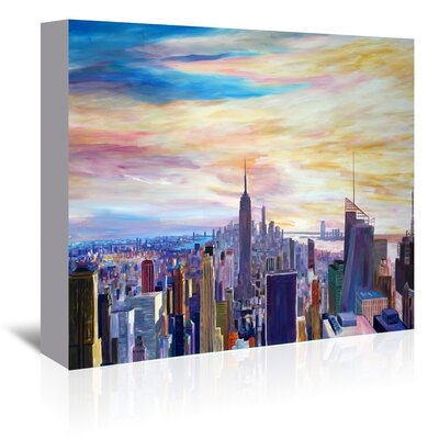 Americanflat 'Nyc Panorama With Wtc Chrysler Empire State' by M Bleichner Art Print Wrapped on Canvas