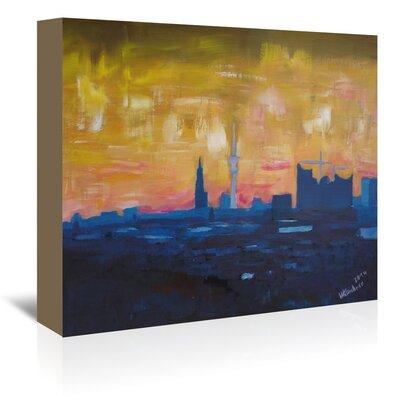 Americanflat Hamburg Skyline Dusk 2' by Markus Bleichner Art Print Wrapped on Canvas