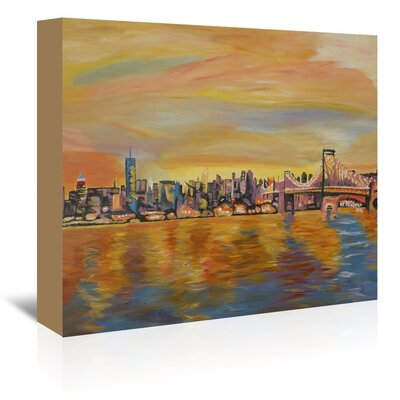 Americanflat Golden New York City Skyline - Leinwand' by Markus Bleichner Art Print Wrapped on Canvas