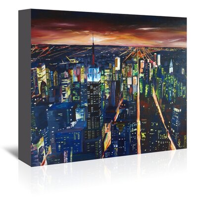 Americanflat 'NYC- Empire State Building - New York City Night 2' by M Bleichner Art Print Wrapped on Canvas