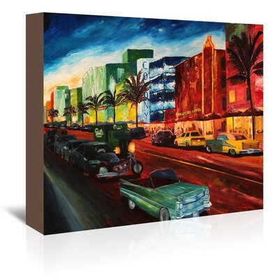 Americanflat 'Miami Ocean Drive With Mint Cadillac' by M Bleichner Art Print Wrapped on Canvas
