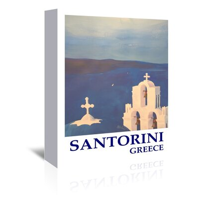 Americanflat Santorini Greek Island Classical Poster' by Markus Bleichner Vintage Advertisement Wrapped on Canvas