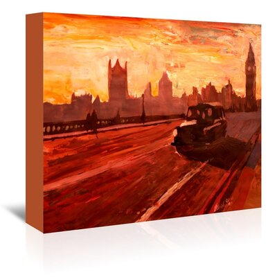 Americanflat 'London Bus Dusk' by M Bleichner Art Print Wrapped on Canvas