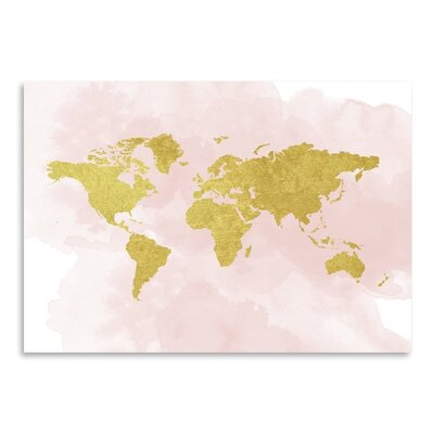 Americanflat 'Gold Glitter Map' by Peach & Gold Graphic Art