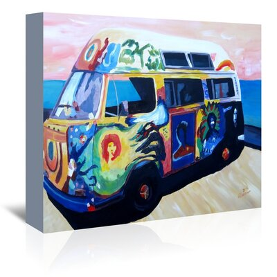 Americanflat 'The Here Comes The Sun Surf Bus Or' by M Bleichner Art Print Wrapped on Canvas