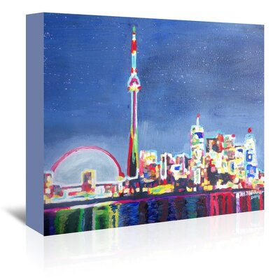 Americanflat Toronto Neon Shimmering Skyline' by Markus Bleichner Art Print Wrapped on Canvas