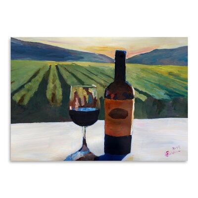 Americanflat 'Napa Valley Wine Bottle And Glass' by M Bleichner Art Print