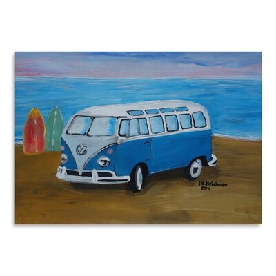 Americanflat 'Blue Surfbus With Surf Boards' by M Bleichner Art Print