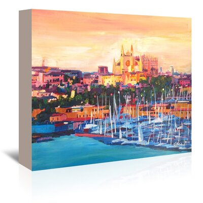 Americanflat 'Spain Balearic Island Palma De Mallorca With Harbour And Cathedral Neu' by M Bleichner Art Print Wrapped on Canvas