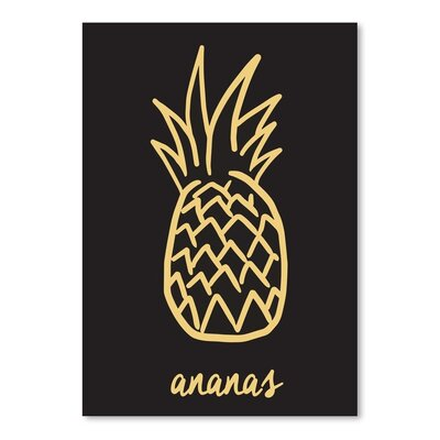 Americanflat 'Ananas_Blackgold' by The Glass Mountain Graphic Art