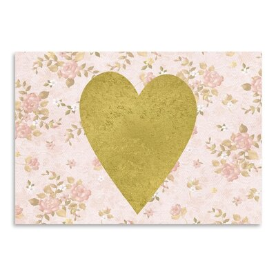 Americanflat 'Gold Heart on Pink Floral' Graphic Art