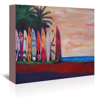Americanflat Surf Board Fence Wall At The Seaside' by Markus Bleichner Art Print Wrapped on Canvas